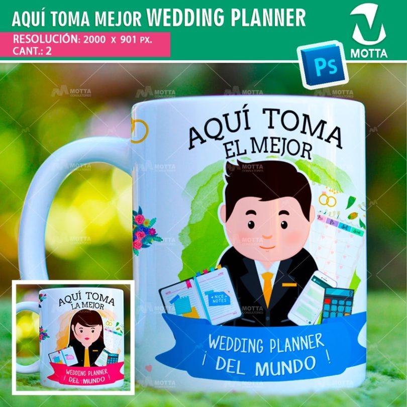 plantilla-diseño-tazas-mug-vaso-aqui-toma-wedding-planner