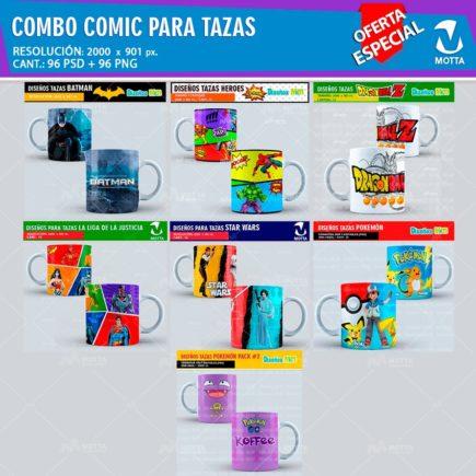 COMBO COMICS DISEÑOS PARA SUBLIMAR TAZAS