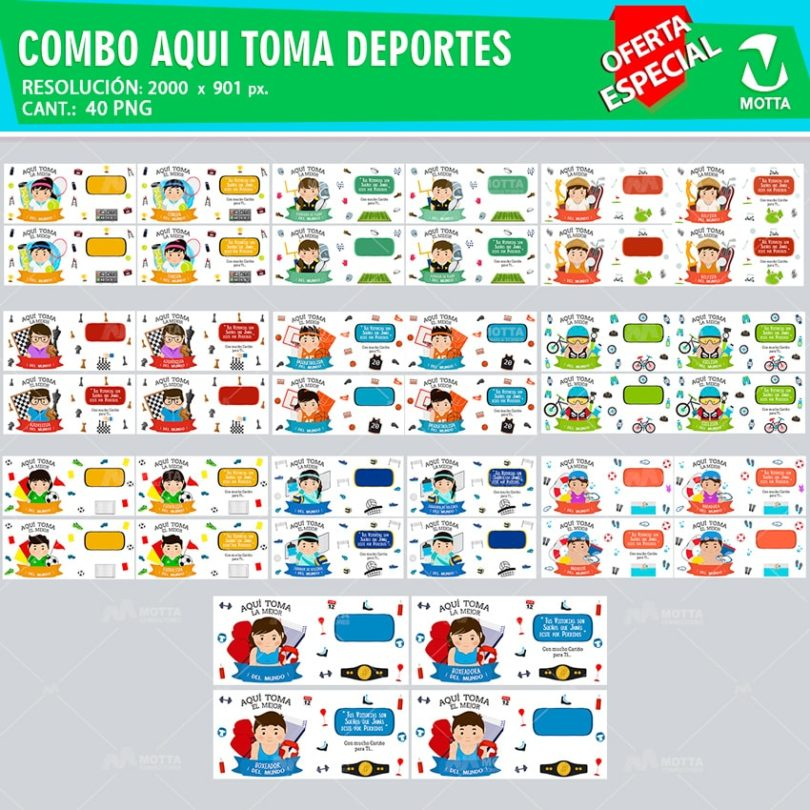COMBO AQUÍ TOMA DEPORTES |DISEÑOS PARA SUBLIMAR TAZAS