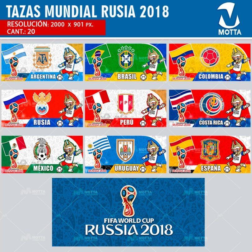 DISEÑOS PARA SUBLIMAR TAZAS MUNDIAL RUSIA FIFA 2018