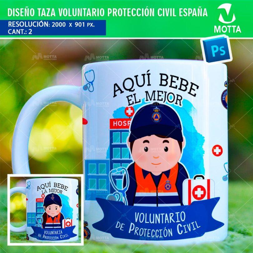 DISEÑOS DE TAZA AQUÍ BEBE VOLUNTARIO DE PROTECCIÓN CIVIL