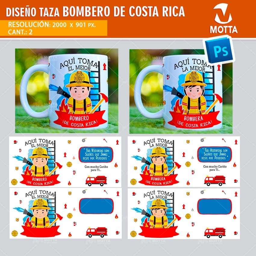 DISEÑOS TAZAS AQUÍ TOMA BOMBERO COSTA RICA
