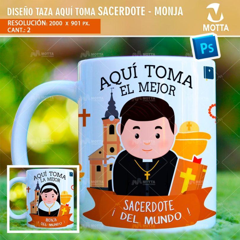 DISEÑOS PARA TAZAS AQUÍ TOMA MEJOR SACERDOTE - MONJA