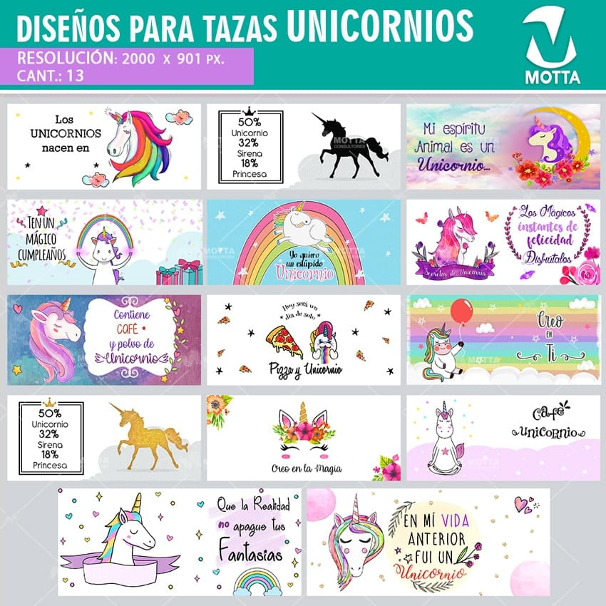 DISEÑOS PARA SUBLIMAR TAZAS UNICORNIOS