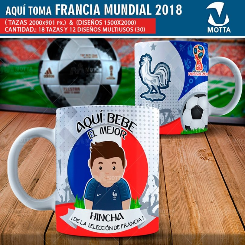 DISEÑOS AQUÍ TOMA MEJOR HINCHA DE FRANCIA FIFA 2018