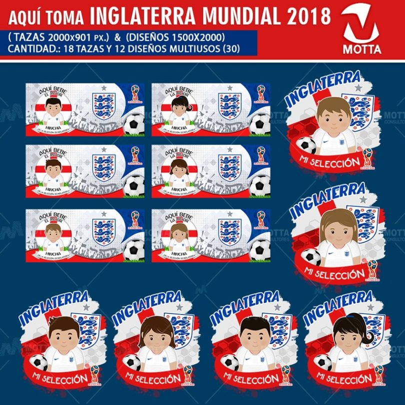 DISEÑOS AQUÍ TOMA HINCHA DE INGLATERRA FIFA 2018
