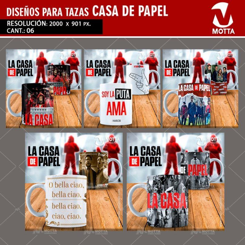 DISEÑOS PARA SUBLIMAR TAZAS DE LA CASA DE PAPEL