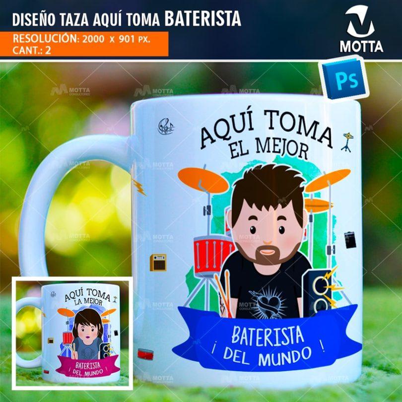 DISEÑOS PARA SUBLIMAR TAZAS | AQUÍ TOMA BATERISTA