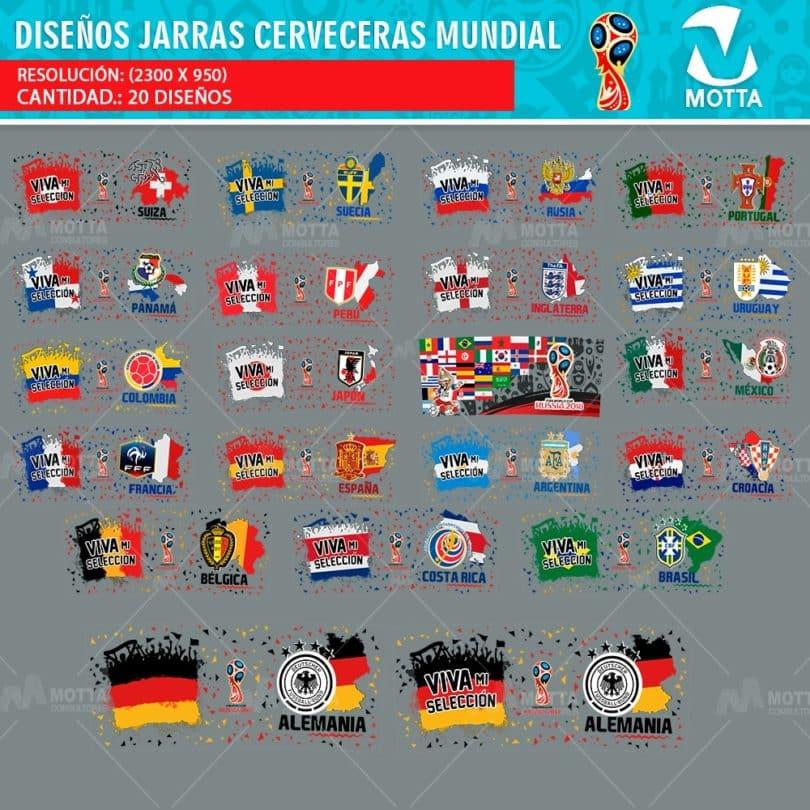 DISEÑOS PARA SUBLIMAR JARRAS CERVECERAS COPA MUNDIAL FIFA 2018