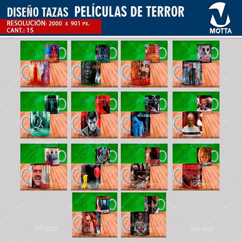 DISEÑOS PARA SUBLIMAR TAZAS PELÍCULAS DE TERROR