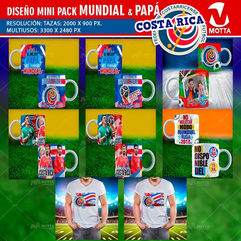 DISEÑOS TAZAS Y CAMISETAS COSTA RICA PARA DÍA DEL PADRE Y FIFA 2018