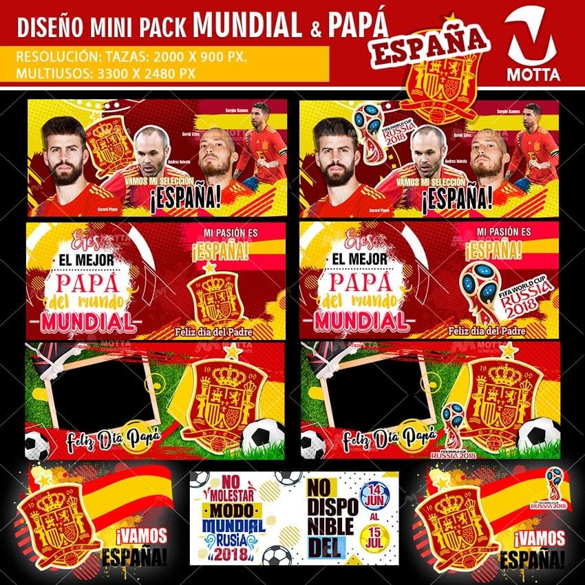 DISEÑOS TAZAS Y CAMISETAS ESPAÑA PARA DÍA DEL PADRE Y FIFA 2018