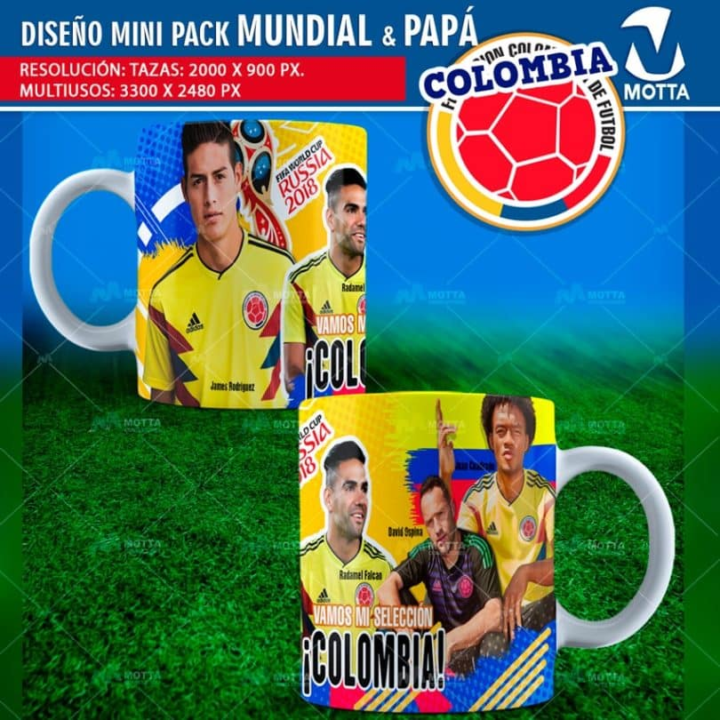 Diseños-plantillas-templates-mug-tazas-vasos-camiseta-selección-colombia-mundial-rusia-james-cuadrado-falcao