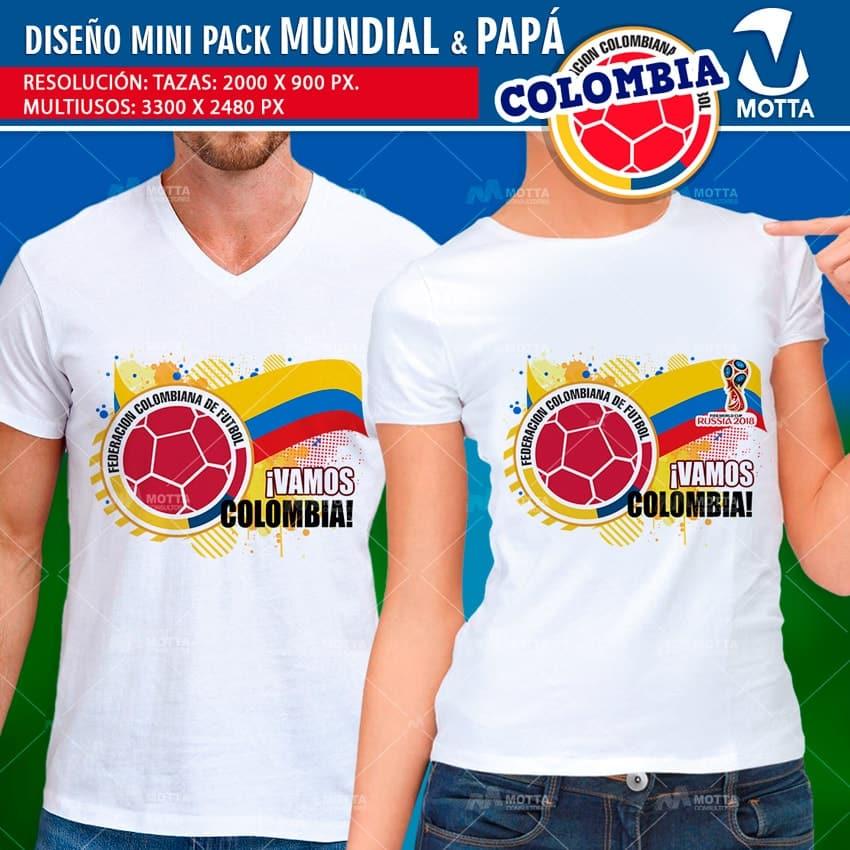 DISEÑOS TAZAS Y CAMISETAS COLOMBIA PARA DÍA DEL PADRE Y FIFA 2018