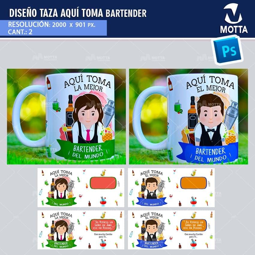 DISEÑOS PARA SUBLIMAR TAZAS AQUÍ TOMA BARTENDER