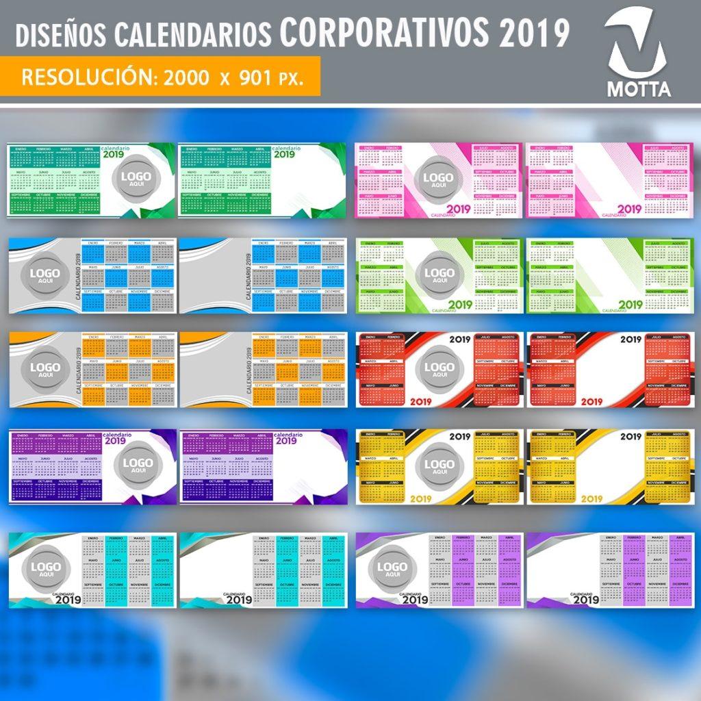 DISEÑOS CALENDARIOS CORPORATIVOS 2019 SUBLIMACIÓN TAZAS