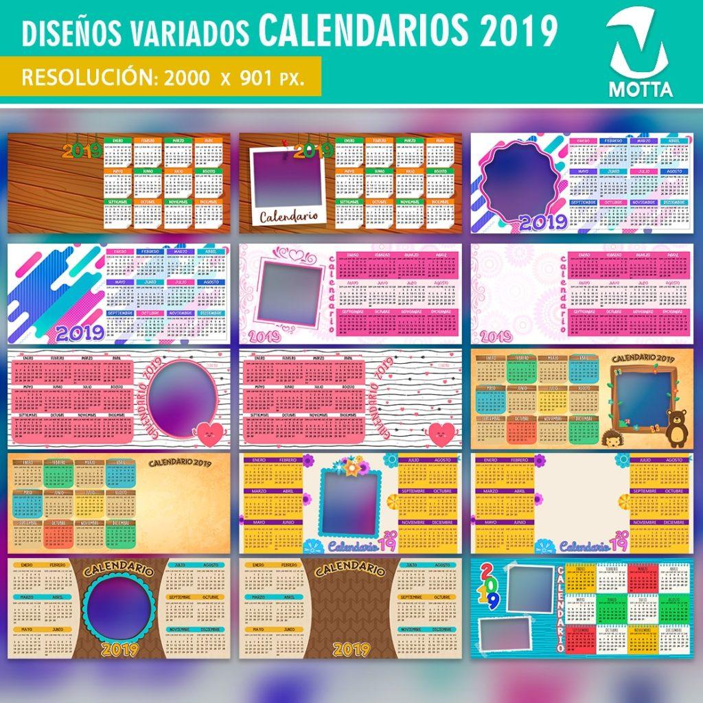 DISEÑOS CALENDARIO 2019 PARA SUBLIMAR TAZAS