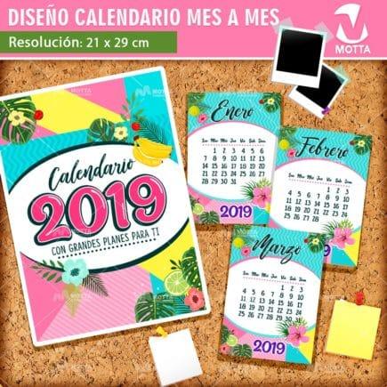 DISEÑO DE CALENDARIO 2019 TAMAÑO CARTA PARA IMPRIMIR