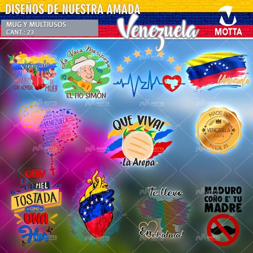 DISEÑOS PARA ESTAMPAR TAZAS Y CAMISETAS DE VENEZUELA