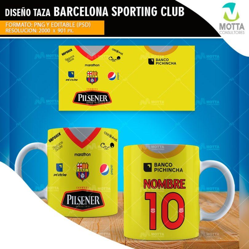DISEÑO TAZA CAMISETA DEL EQUIPO BARCELONA SPORTING CLUB