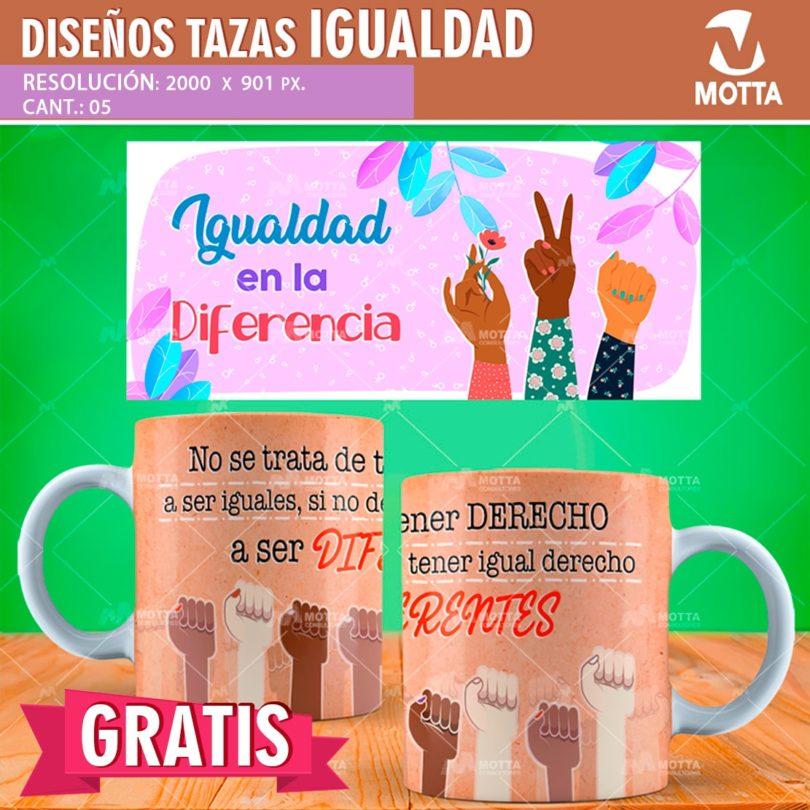 DISEÑOS PARA SUBLIMAR TAZAS DÍA DE LA IGUALDAD