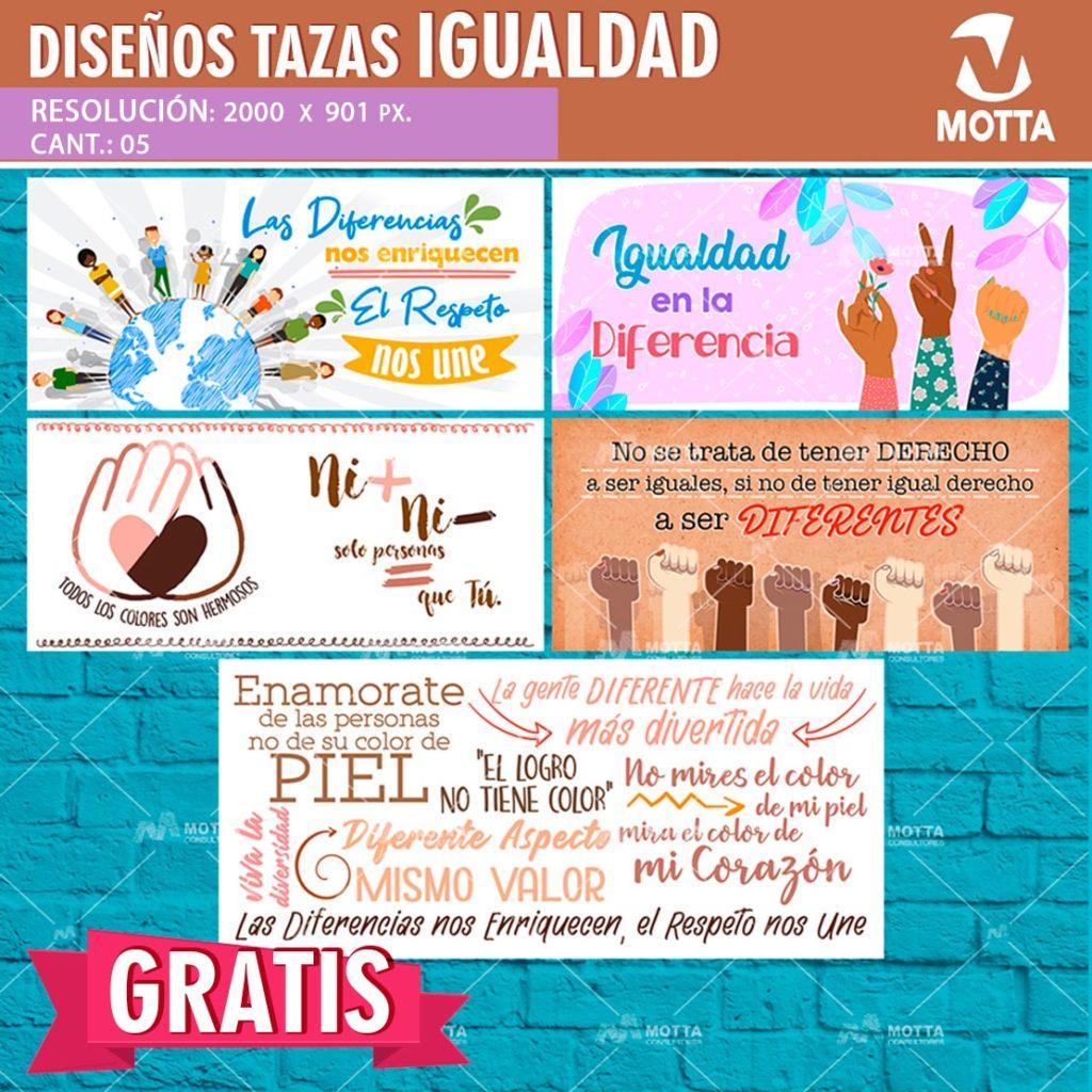 Descarga Gratis 5 Diseños PSD Para sublimar Mug del día de la Igualdad de Géneros