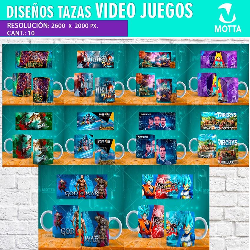 DISEÑOS PARA SUBLIMAR TAZAS DE VÍDEO JUEGOS