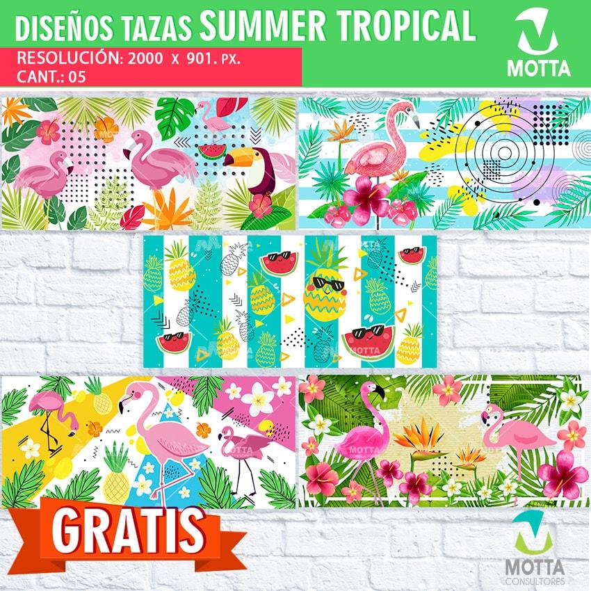 Descargar Diseños Gratis para Sublimar Tazas Tropical Summer