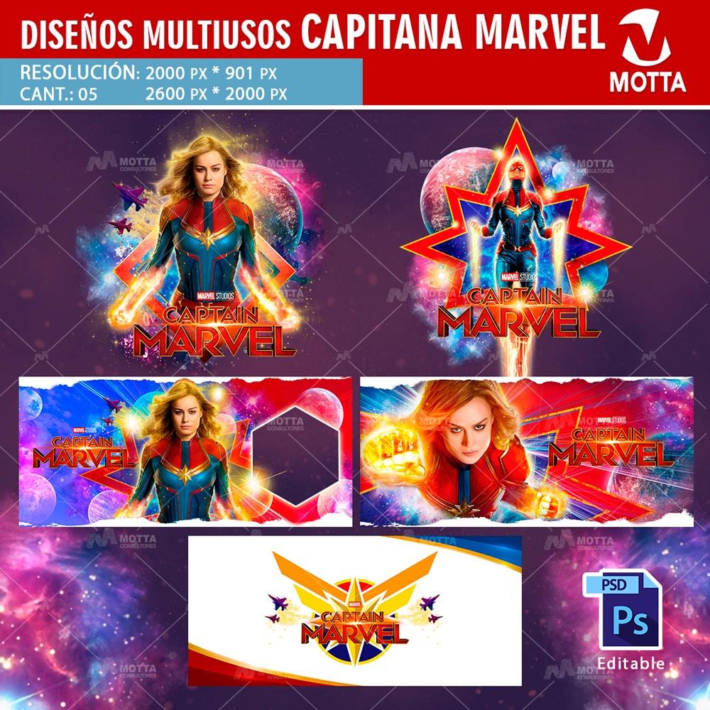 Descarga Gratis Diseños para sublimar Tazas Capitana Marvel