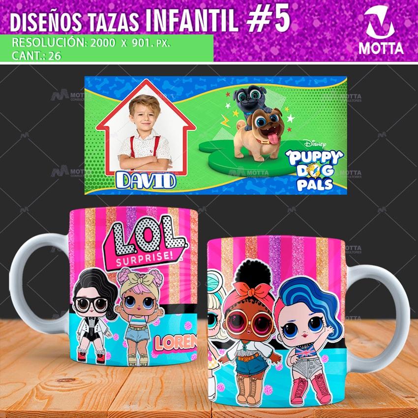 DISEÑOS TAZAS INFANTIL DE DIBUJOS ANIMADOS | PACK N5