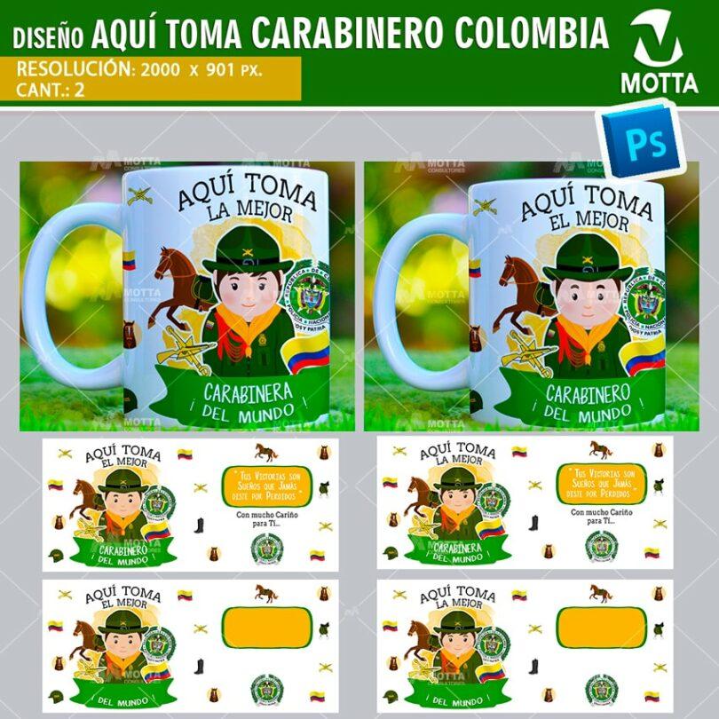 DISEÑOS AQUÍ TOMA POLICÍA NACIONAL CARABINERO DE COLOMBIA PARA MUG