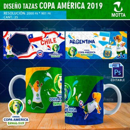 DISEÑOS PARA TAZAS DE LA COPA AMÉRICA 2019