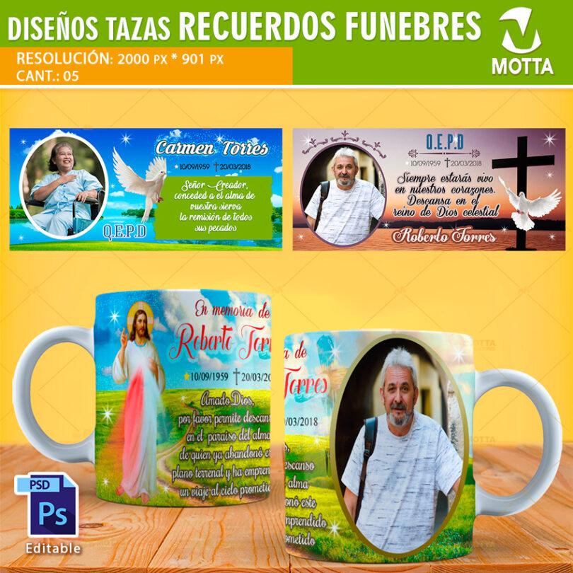 DISEÑOS PARA TAZAS DE DIFUNTOS PARA RECUERDOS FÚNEBRES