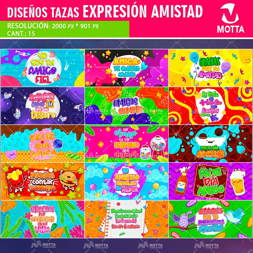 DISEÑO PARA TAZAS DÍA DEL AMIGO EXPRESIÓN SOCIAL