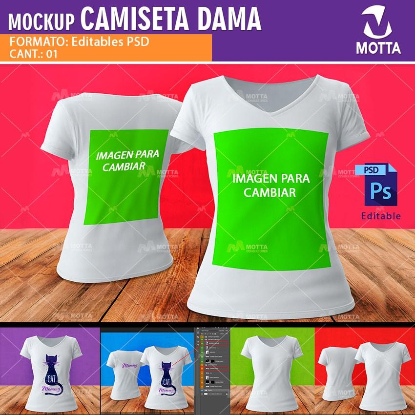 MOCKUP PARA CAMISETAS DE DAMA PARA VISTAS PREVIAS