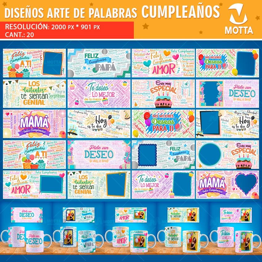 DISEÑOS PARA TAZAS DE CUMPLEAÑOS EN ARTE DE PALABRAS