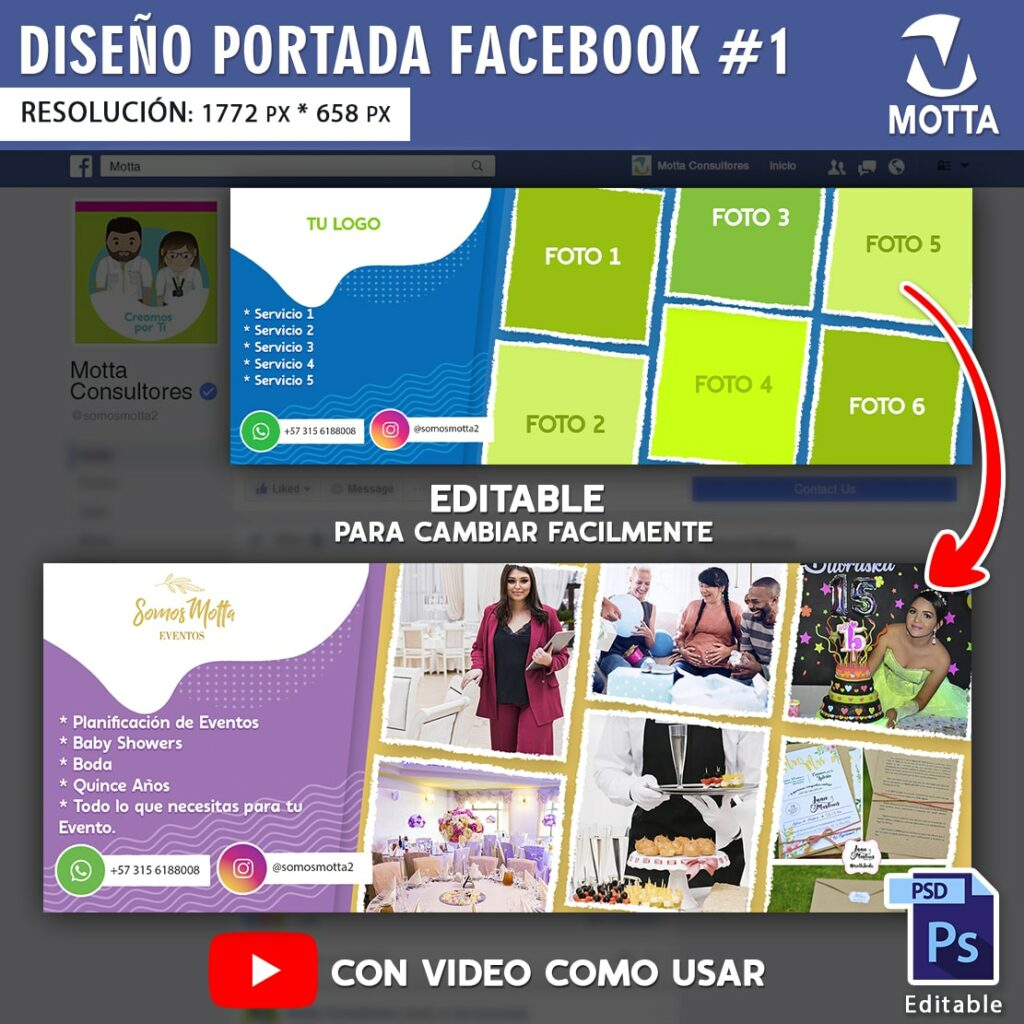 Título: DISEÑO DE PORTADA DE FACEBOOK PSD EDITABLE | N 1