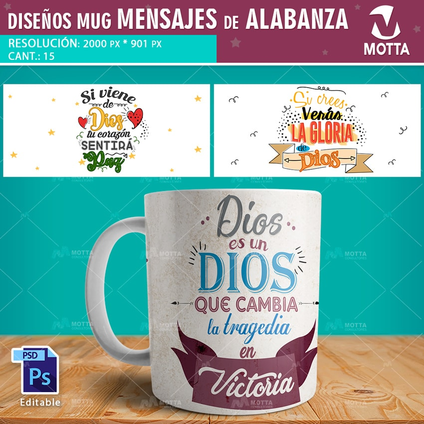 DISEÑO PARA TAZAS CON MENSAJES DE ALABANZA A DIOS