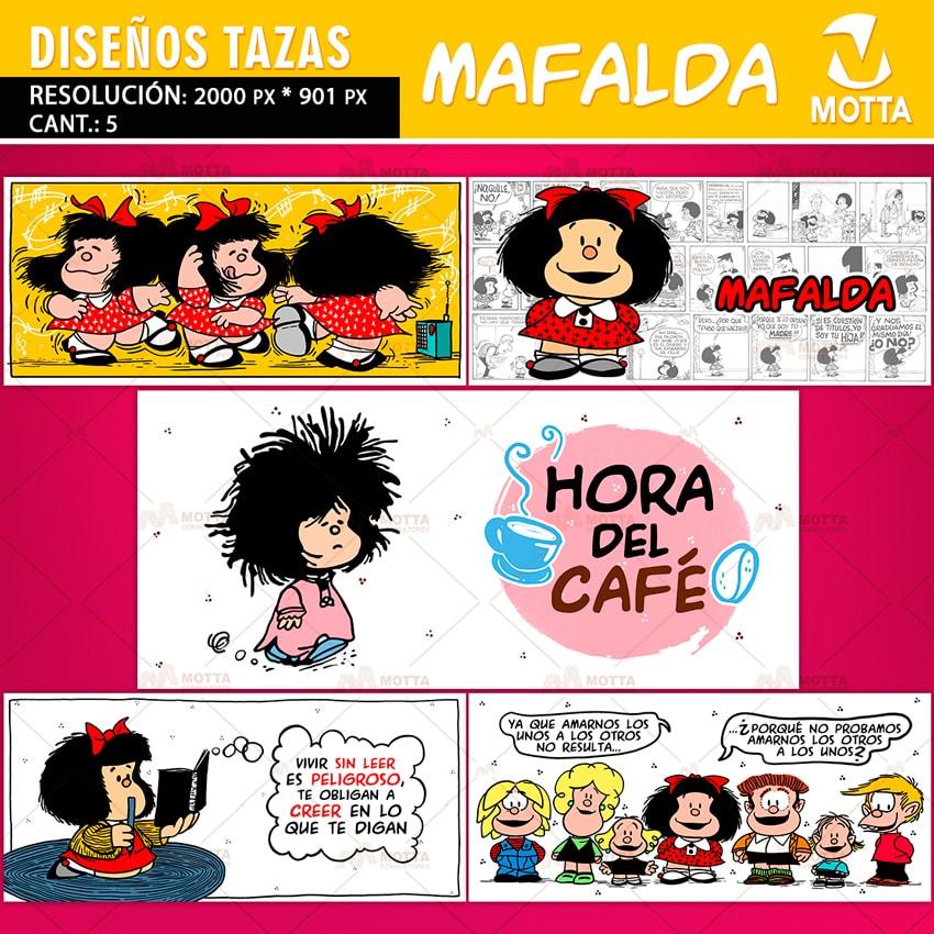 5 DISEÑOS PARA SUBLIMAR TAZAS DE MAFALDA