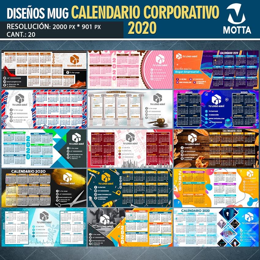 DISEÑO TAZA CALENDARIO CORPORATIVO 2020 PARA SUBLIMAR