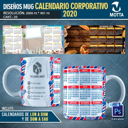 20 DISEÑO TAZA CALENDARIO CORPORATIVO 2020 PARA SUBLIMAR