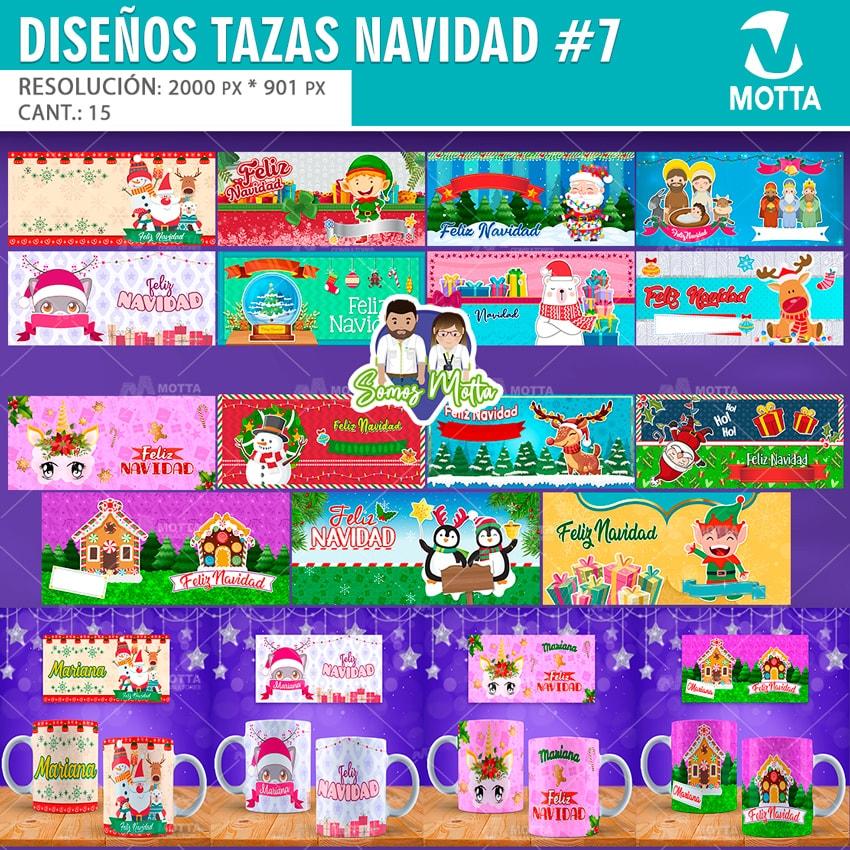 15 DISEÑOS PARA SUBLIMAR TAZAS DE NAVIDAD CON NOMBRE | PACK 7