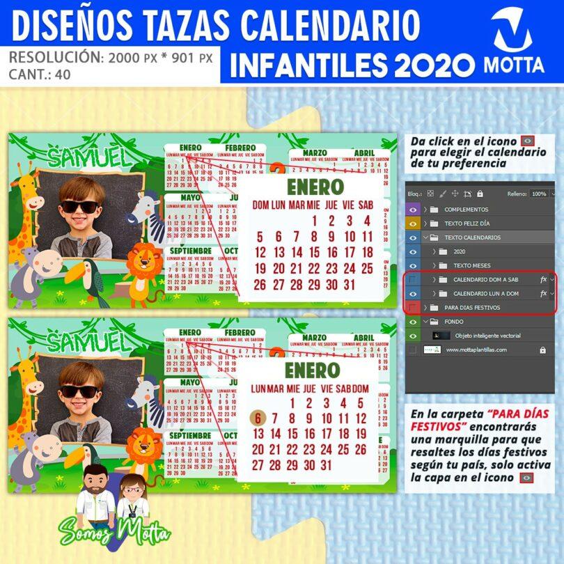 DISEÑOS PARA TAZAS CALENDARIO INFANTIL 2020
