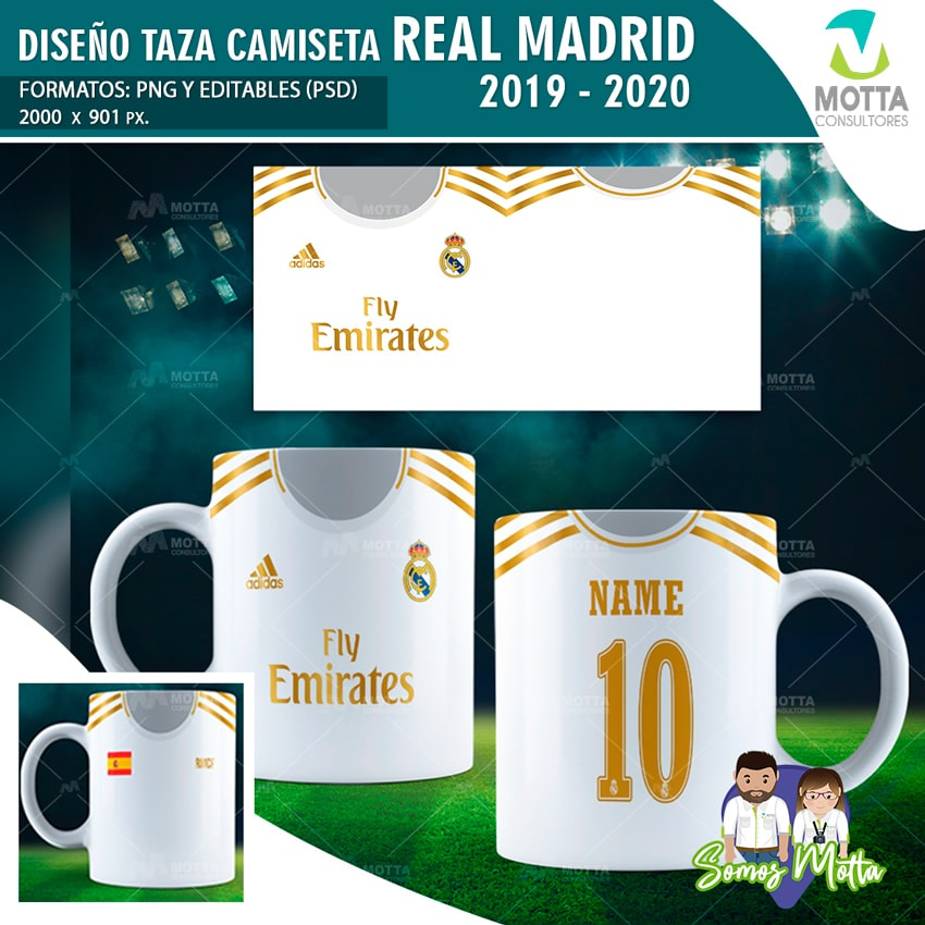 PLANTILLAS PARA SUBLIMAR TAZAS CON CAMISETA REAL MADRID