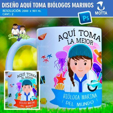 PLANTILLAS TAZAS AQUÍ TOMA | AQUÍ BEBE BIÓLOGO MARINO