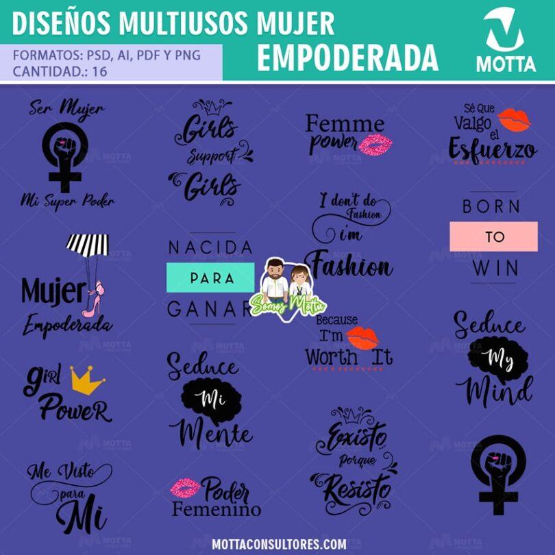 DISEÑOS PARA ESTAMPAR CAMISETAS DE MUJER EMPODERADA