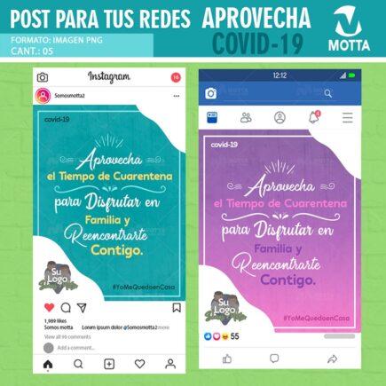Diseño Gratis para Redes #QUÉDATEENCASA APROVECHA EL TIEMPO