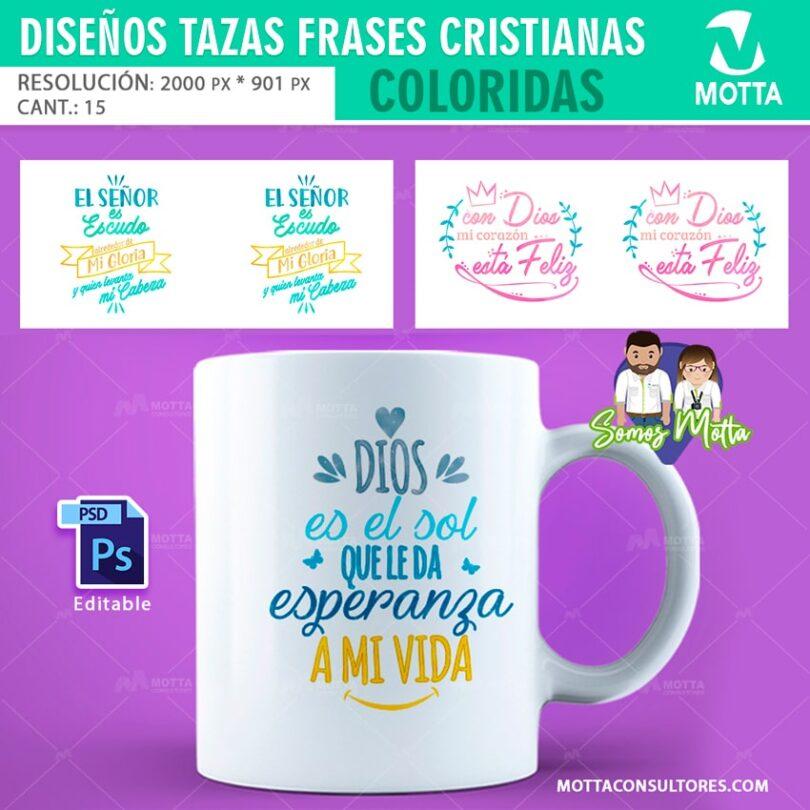 DISEÑO DE TAZAS CON FRASES CRISTIANAS MOTIVACION