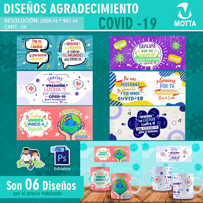 DISEÑOS DE TAZAS AGRADECIMIENTO CORONAVIRUS COVID-19
