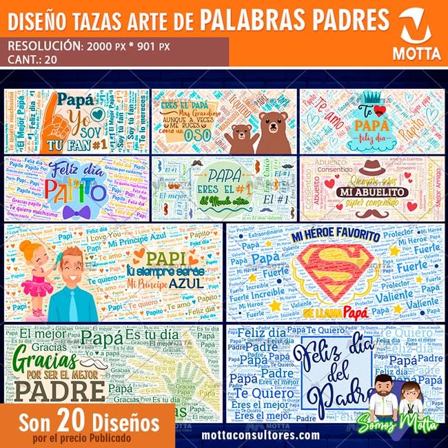 DISEÑOS PARA SUBLIMAR TAZAS DÍA DEL PADRE ARTE PALABRAS